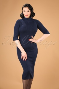 Collectif Clothing Olive Knitted Dress in Navy 21972 20170612 02W