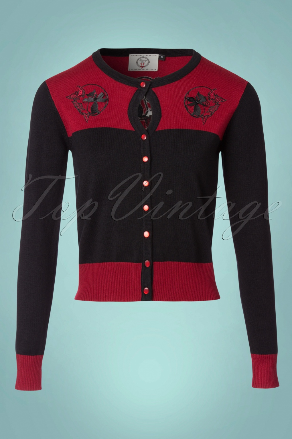 1950s Style Sweaters, Crop Cardigans, Twin Sets 50s Harper Cardigan in Bordeaux and Black £36.05 AT vintagedancer.com