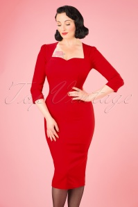 Collectif Clothing Vanessa Pencil Dress in Red 21966 20170612 001W
