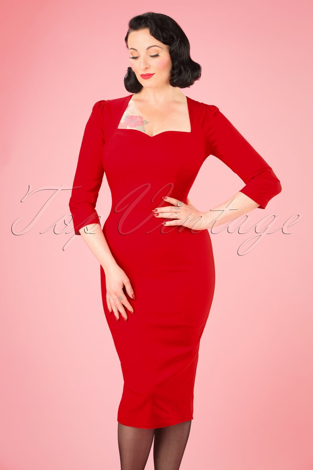 Wiggle Dresses | Pencil Dresses 50s Vanessa Pencil Dress in Red £50.15 AT vintagedancer.com