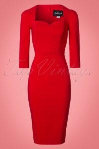 Collectif Clothing Vanessa Pencil Dress in Red 21966 20170612 0002W
