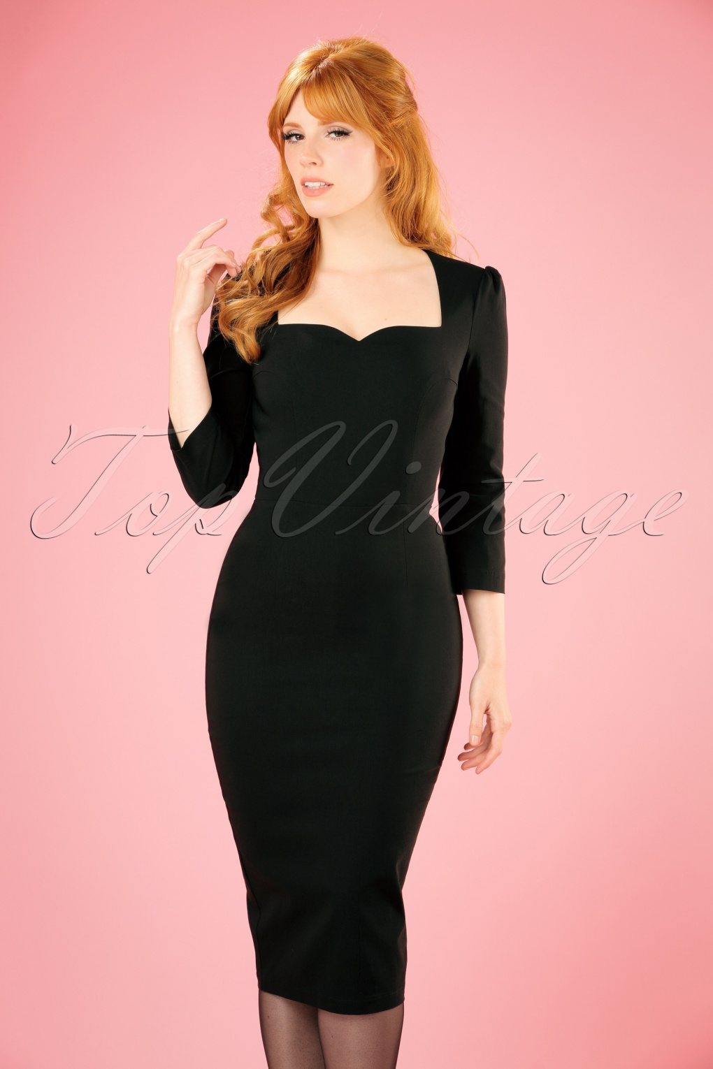 Wiggle Dresses | Pencil Dresses 50s Vanessa Pencil Dress in Black £50.15 AT vintagedancer.com