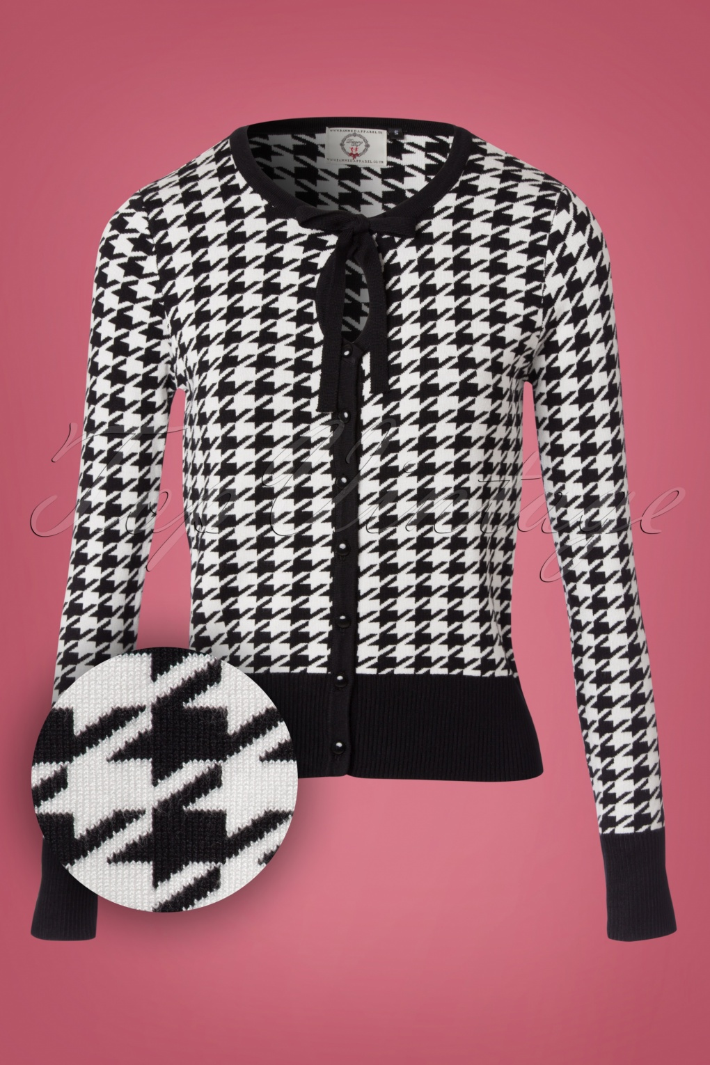 Retro Vintage Sweaters 50s Izzy Houndstooth Cardigan in Black and White £37.90 AT vintagedancer.com