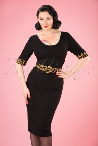 50s June Leopard Trim Pencil Dress in Black