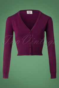 50s Little Luxury Cropped Cardigan in Aubergine