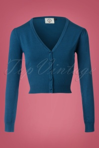 50s Little Luxury Cropped Cardigan in Teal