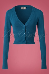 50s Lets Go Dancing Cardigan in Teal