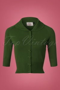40s April Bow Cardigan in Forest Green