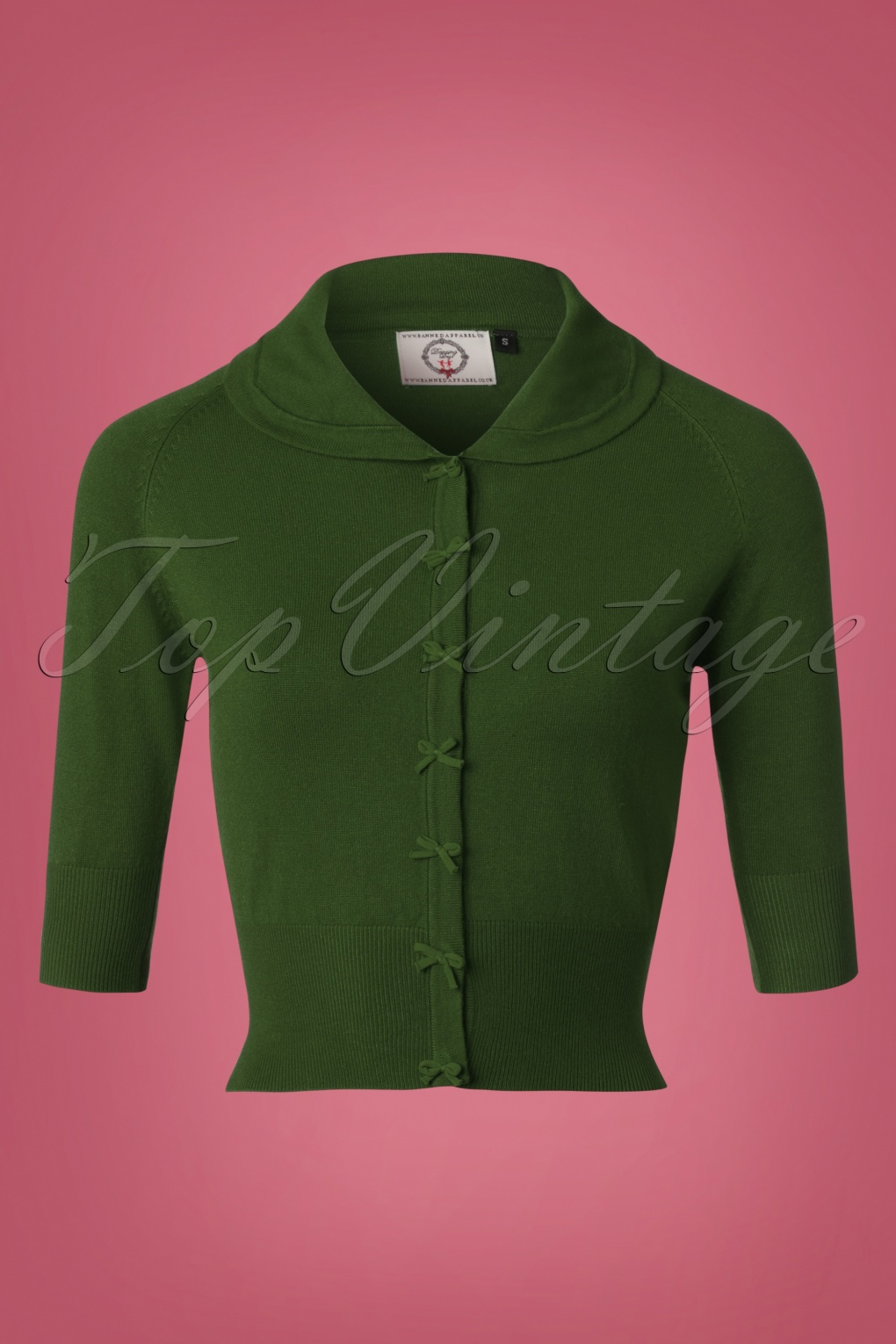 Retro Vintage Sweaters 40s April Bow Cardigan in Forest Green £33.49 AT vintagedancer.com