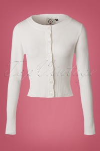 Banned Retro 50s Dolly Cardigan in Ivory White