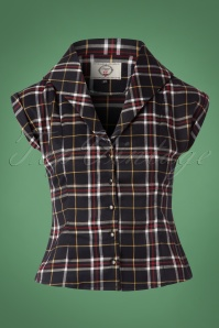 50s Poppy Short Sleeve Tartan Blouse in Dark Navy