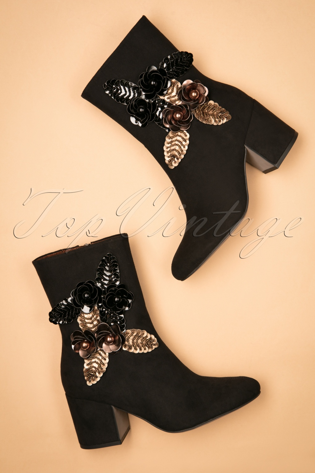 Vintage Style Shoes, Vintage Inspired Shoes 60s Georgia Golden Flower Booties in Black £80.04 AT vintagedancer.com