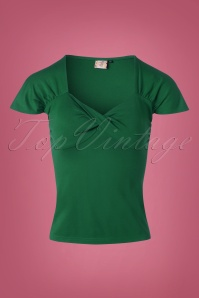 50s She Who Dares Top in Forest Green