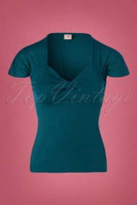 50s She Who Dares Top in Teal