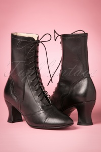 Miss L-Fire Frida Lace Up Booties Années 40 en Noir