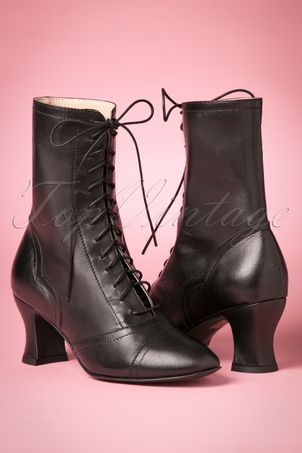 1950s Style Shoes 40s Frida Lace Up Booties in Black £180.42 AT vintagedancer.com