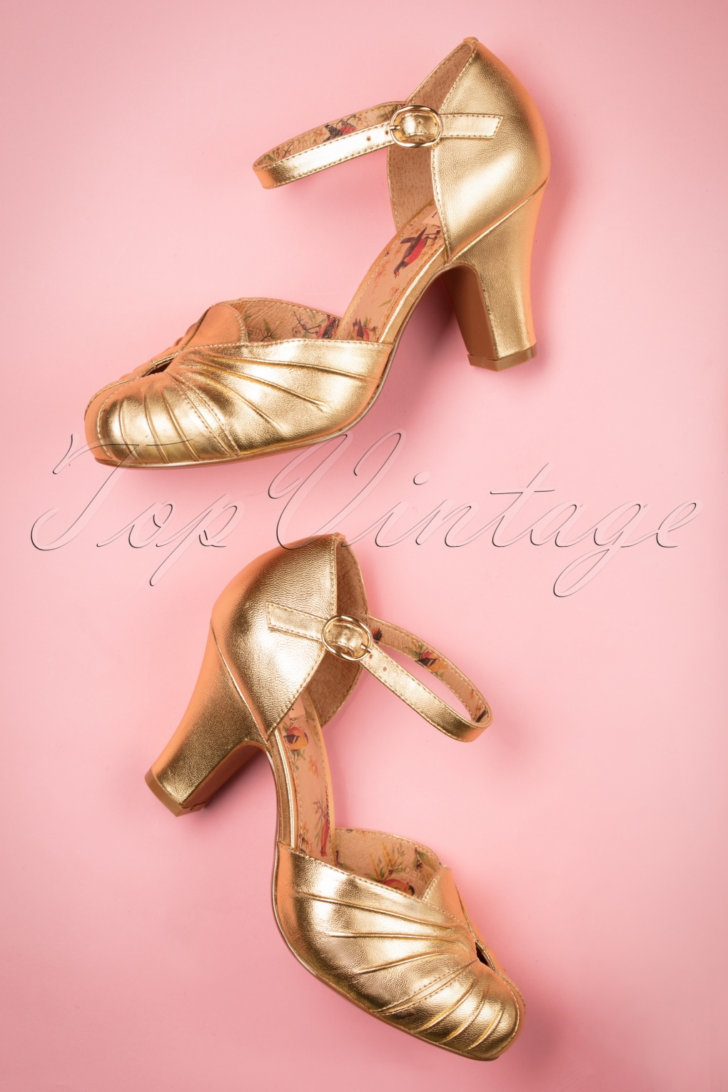 Pin Up Shoes- Heels, Pumps & Flats 40s Amber Mary Jane Pumps in Striking Gold £155.51 AT vintagedancer.com