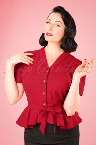Collectif Clothing Phoebe Peplum Blouse in Red 21953 20170607 001W