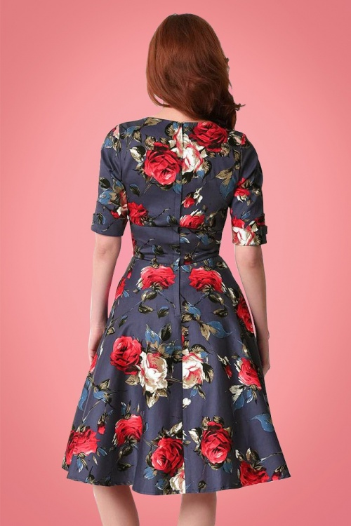 3f62cafd3f Unique Vintage 1950s Style Navy Red Floral Delores Swing Dress 1023922314 4
