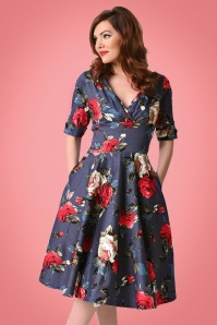 Unique Vintage 1950s Style Navy Red Floral Delores Swing Dress 1023922314 3