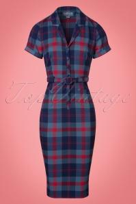 Collectif Clothing Caterina Merida Check Pencil Dress 21980 20170615 0003W