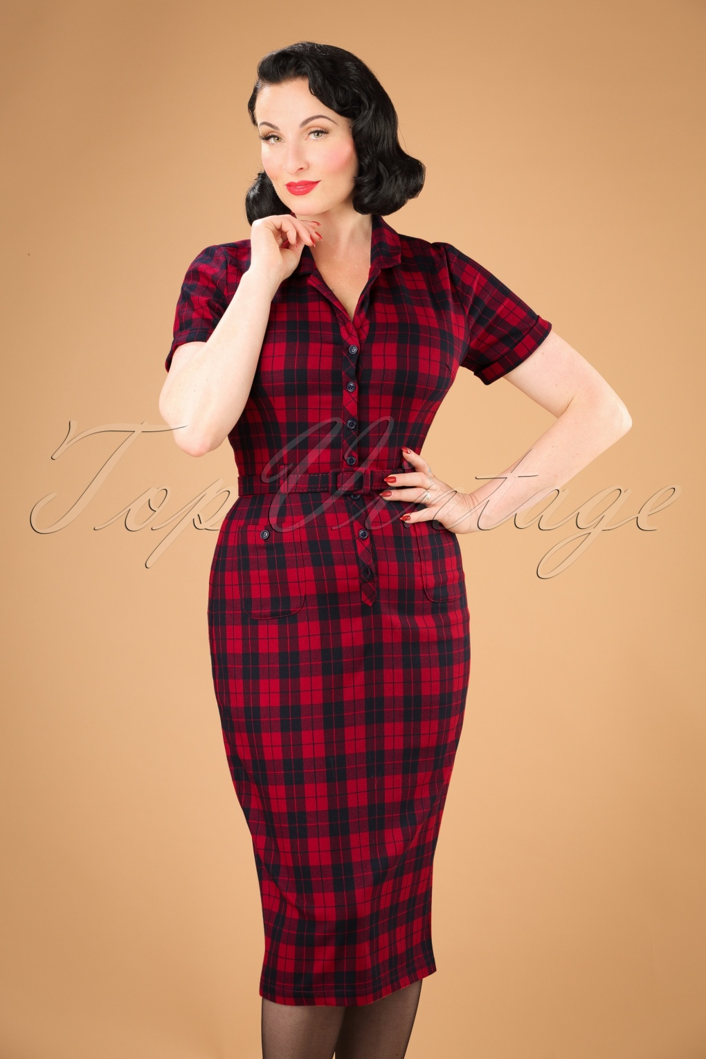 Wiggle Dresses | Pencil Dresses 50s Caterina Ettrick Check Pencil Dress in Red £68.41 AT vintagedancer.com