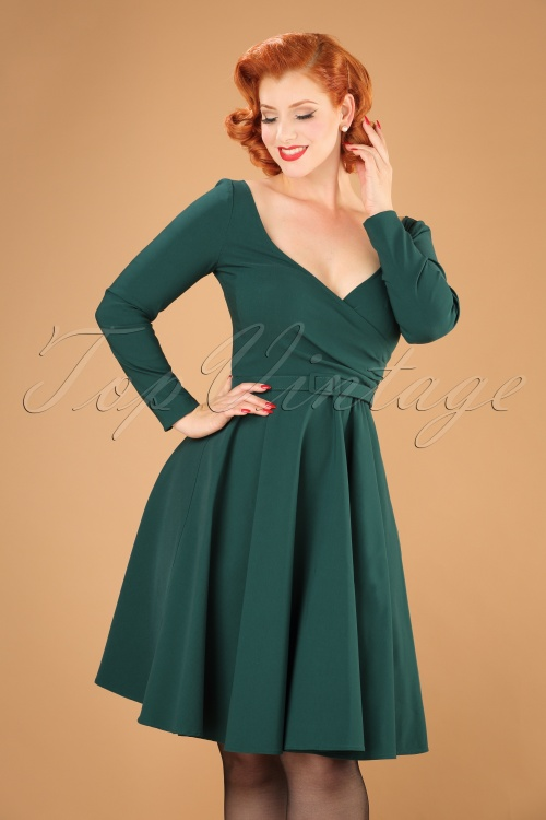 Collectif Clothing Nicky Doll Dress in Teal 21833 20170613 001W