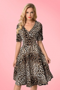 Unique Vintage 1950s Style Leopard Print Delores Swing Dress 1025822313 4