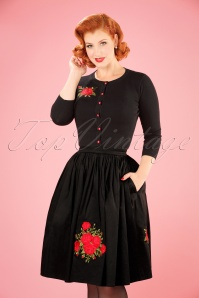 Collectif Clothing Talis Rose Embroidery Swing Skirt  21905 20170602 001WE