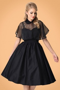 Unique Vintage 1940s Style Black Brushed Cotton Luna Swing Dress Mesh Capelet 1021011315 2