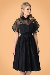 40s Luna Swing Dress in Black