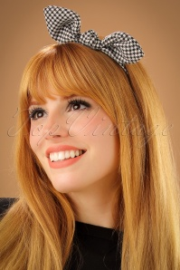 50s Jessie Houndstooth Hairband in Black and White