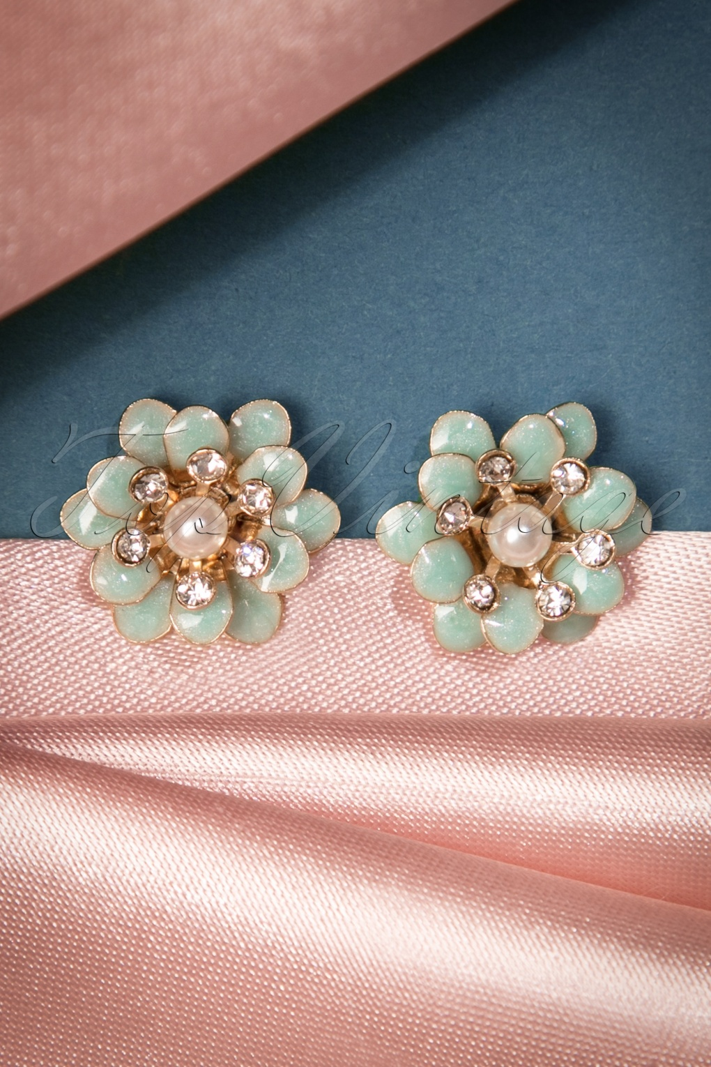 1960s Costume Jewelry – 1960s Style Jewelry 60s Lacey Flower Earrings in Duck Egg Blue £13.44 AT vintagedancer.com
