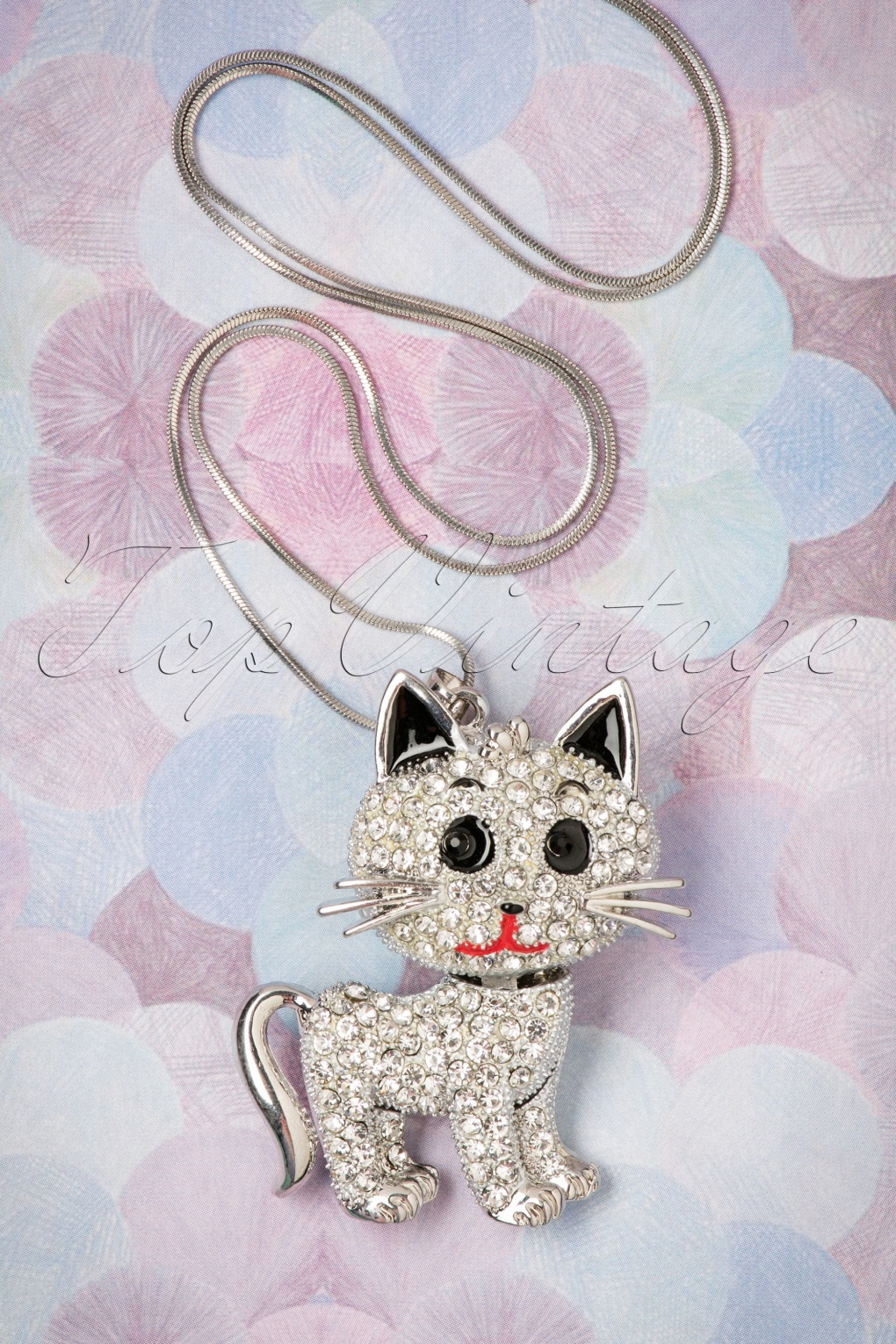 1960s Costume Jewelry – 1960s Style Jewelry 60s Shiny Kitty Cat Necklace in Silver £16.14 AT vintagedancer.com
