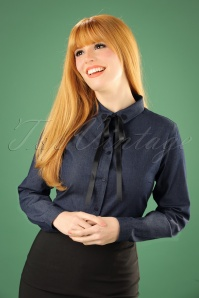 60s Zoe Blouse in Denim