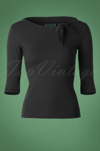 Heart of Haute 50s Lily Bow Top in Black