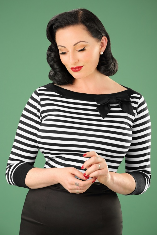 Steady Clothing Solid Boatneck Shirt in Black and White Stripes 113 14 19538 20161013 00010W