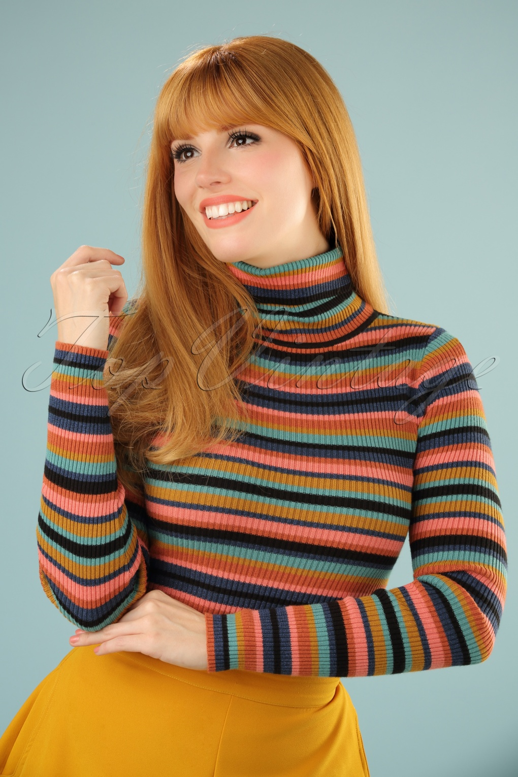 Retro Vintage Sweaters 60s Lullaby Rollneck Top in Autumn Blue £70.56 AT vintagedancer.com