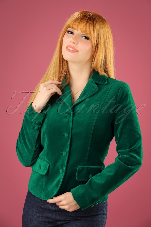 Retro Vintage Style Coats, Jackets, Fur Stoles 60s Woven Velvet Blazer in Peacock Green £114.68 AT vintagedancer.com