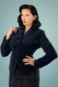 60s Woven Velvet Blazer in Night Blue