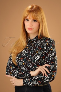 70s Erin Enchanted Woodland Blouse in Black