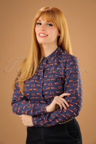70s Erin Foxy Blouse in Navy