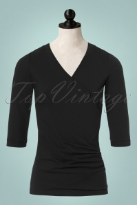 50s Maisie Buttons Top in Black
