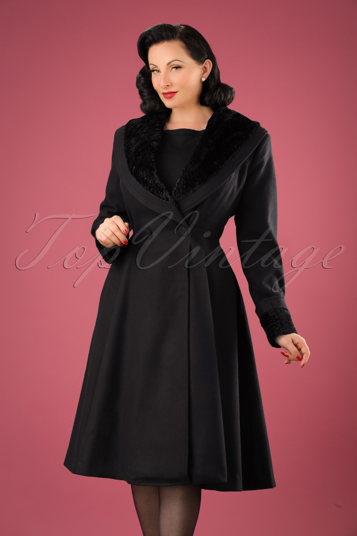 Retro Vintage Style Coats, Jackets, Fur Stoles 50s Vivien Swing Coat in Black £104.09 AT vintagedancer.com