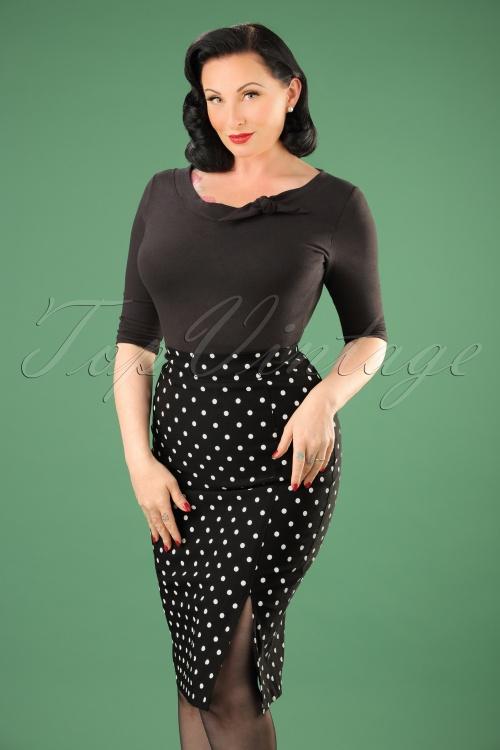 Steady Clothing Pencil skirt black polkadot 120 14 14279 20141029 003W