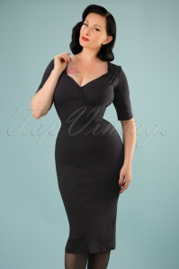 Trixie Doll Pencil Dress Années 50 en Noir