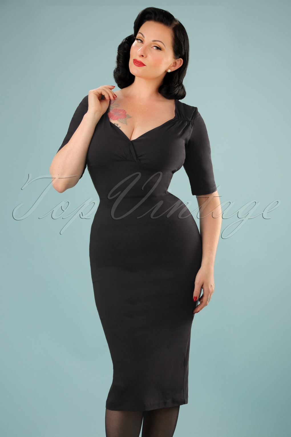 1950s Plus Size Dresses, Swing Dresses 50s Trixie Doll Pencil Dress in Black £47.90 AT vintagedancer.com