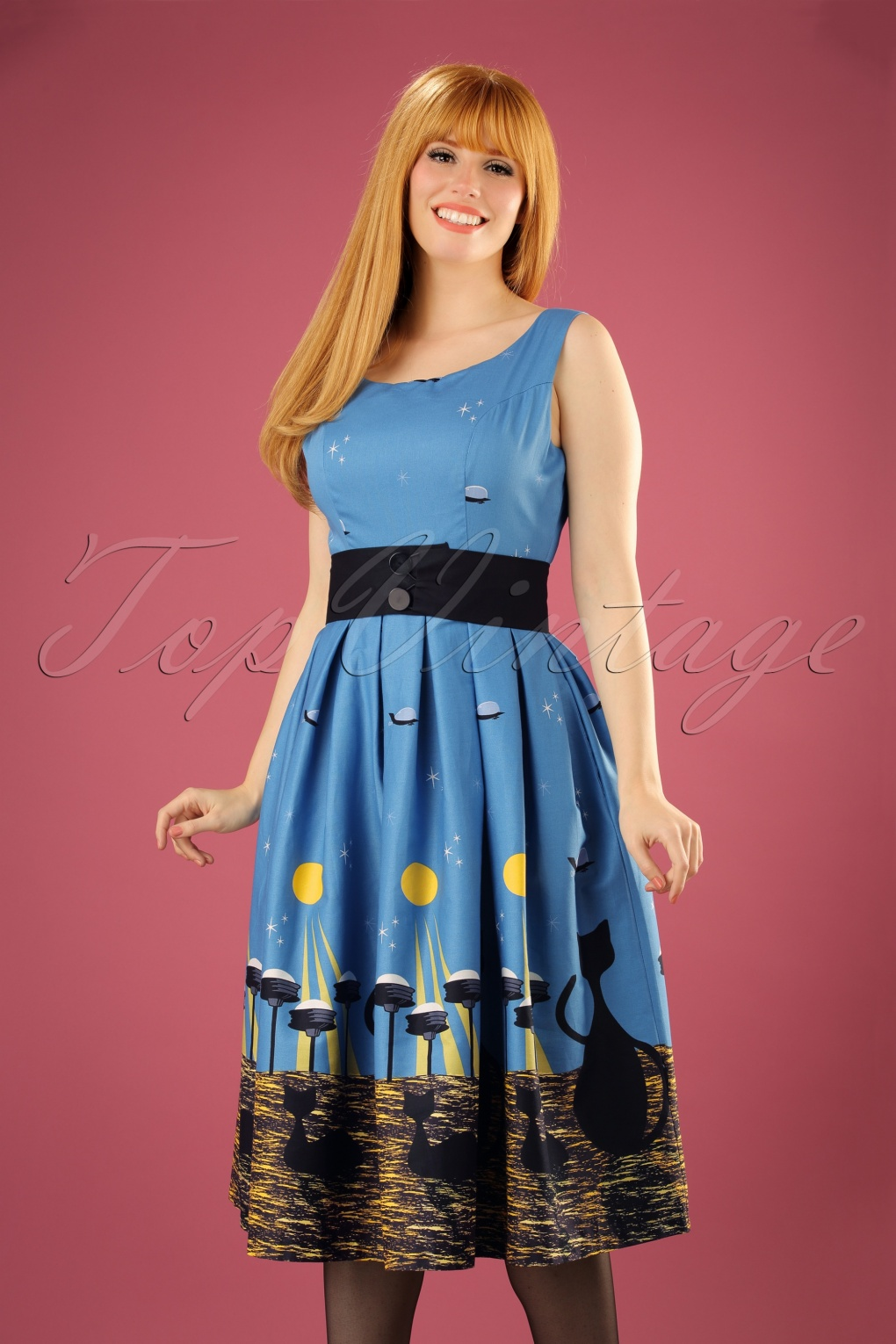 Vintage Retro Halloween Themed Clothing 50s Lana Space Cat Swing Dress in Blue £45.59 AT vintagedancer.com