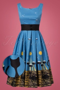 Lindy Bop Blak Cat Dress in Blue 102 39 22885 20170821 0006W1
