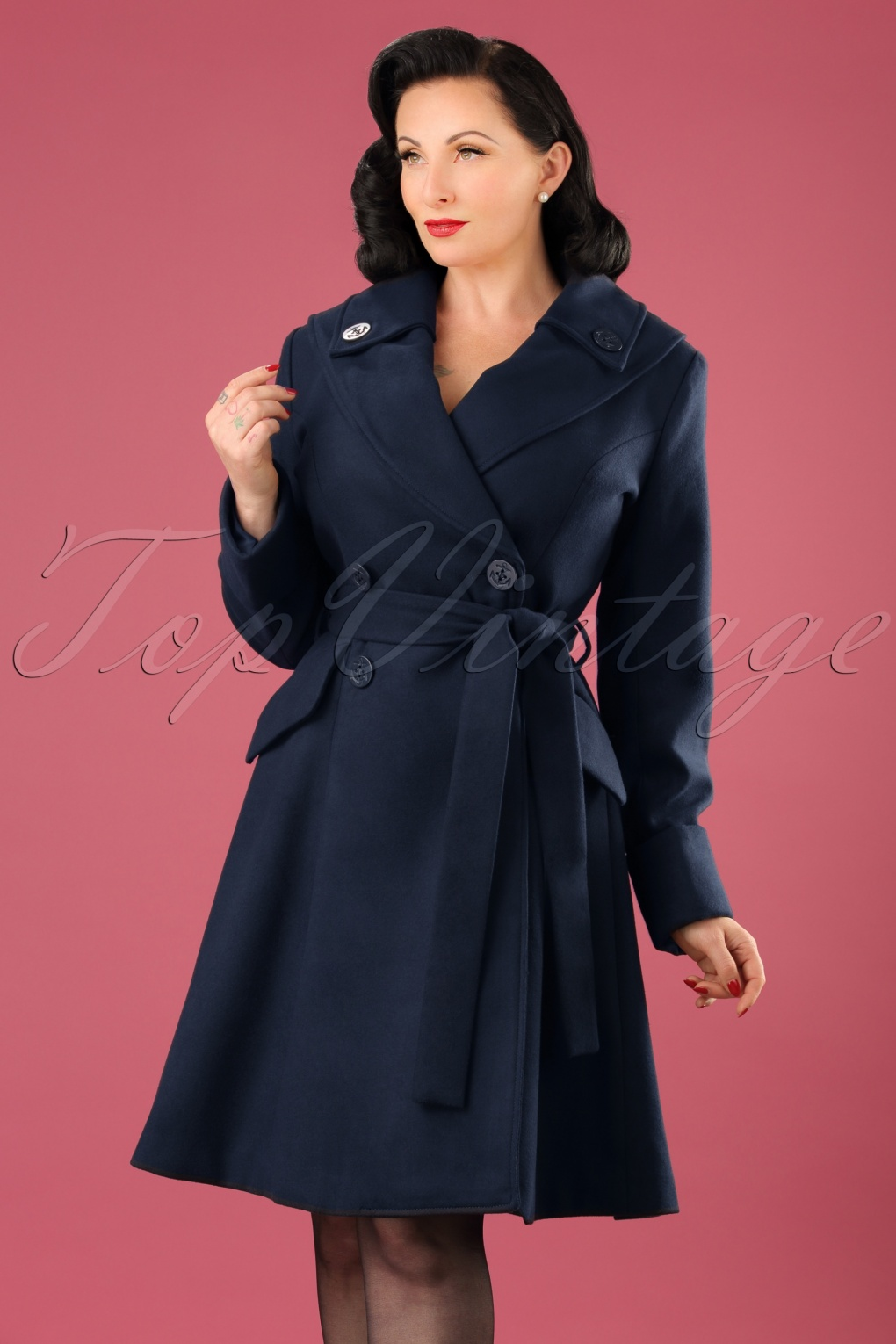 1960s Style Dresses, Clothing, Shoes UK 50s Olga Coat in Navy £109.54 AT vintagedancer.com